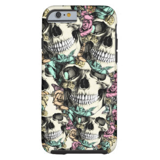 Layered Rose skull pattern in pink blue and yellow Tough iPhone 6 Case