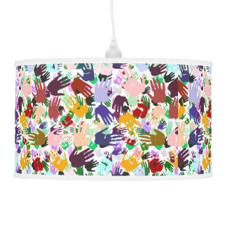 Layers of Colorful Handprints Pendant Lamp