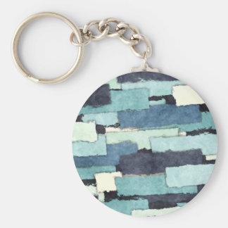 Layers of Colors Pattern Basic Round Button Keychain