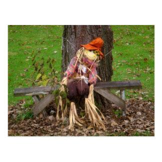 """Laying Down On The Job"" Scarecrow Postcard"
