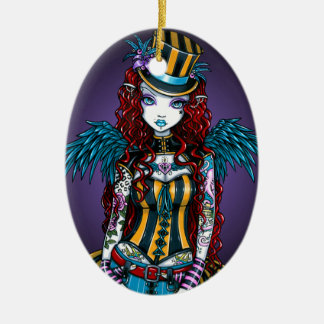 """Layla"" Steampunk Circus Tattoo Sideshow Ornament"
