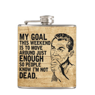 Laziness Goals Funny Retro Dad Quotes Rustic Hip Flask