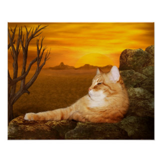 Lazing cat poster