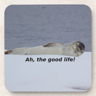 "Lazy Beach Bum Seal: ""Ah, the good life!"" Coaster"