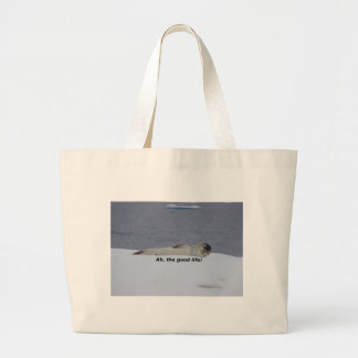 "Lazy Beach Bum Seal: ""Ah, the good life!"" Large Tote Bag"