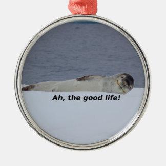 "Lazy Beach Bum Seal: ""Ah, the good life!"" Metal Ornament"