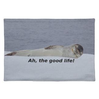 """Lazy Beach Bum Seal: """"Ah, the good life!"""" Placemat"""