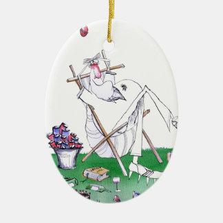 lazy bones - cricket , tony fernandes ceramic oval ornament