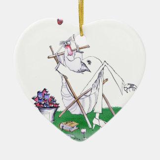 lazy bones - cricket , tony fernandes ceramic heart ornament