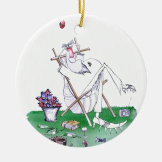 lazy bones - cricket , tony fernandes round ceramic ornament