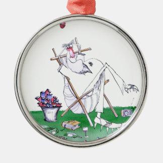 lazy bones - cricket , tony fernandes Silver-Colored round ornament