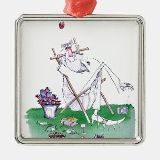 lazy bones - cricket , tony fernandes Silver-Colored square ornament