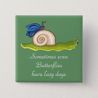 Lazy Butterfly 2 Inch Square Button