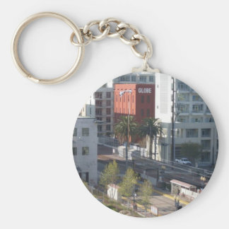 Lazy cat and San Diego Basic Round Button Keychain