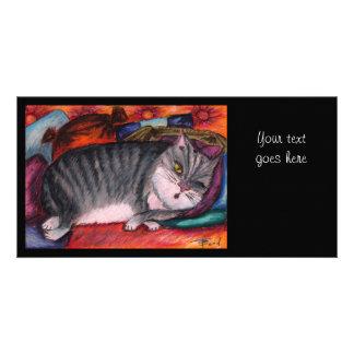 Lazy cat customized photo card