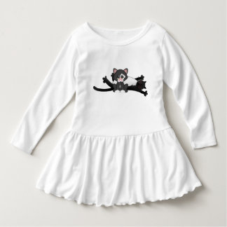 Lazy Cat Stretching Black White Kitten Dress