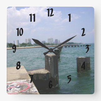 Lazy Days on the Dock Square Wall Clock