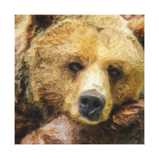 Lazy Grizzly Bear realistic oil on canvas. Canvas Print