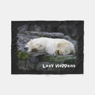 Lazy Happens Polar Bear Fleece Blanket