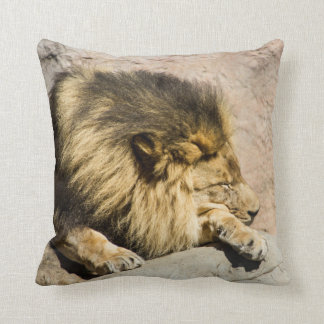 Lazy Lion Throw Pillow