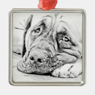 Lazy Mastiff Metal Ornament