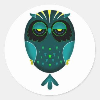 Lazy Owl Classic Round Sticker