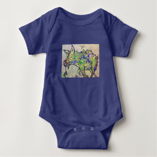Lazy piggy with baby birds baby bodysuit