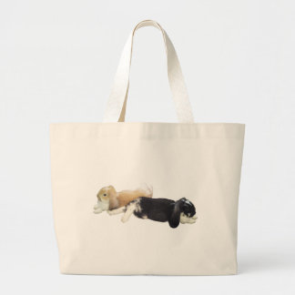 Lazy Rabbits - Bunnies Cute Sleepy Tired Weekend Large Tote Bag