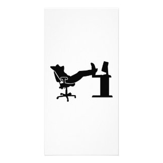 Lazy relaxing office worker personalized photo card