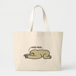Lazy Sloth Large Tote Bag