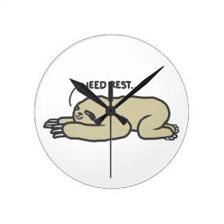 Lazy Sloth Round Clock