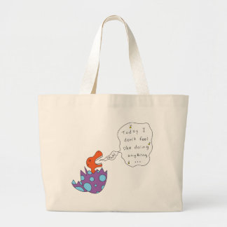 Lazy Song Dino Large Tote Bag