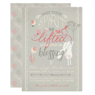 LDS BABY BLESSING INVITATION | Floral Girl Bunny