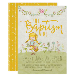 LDS BAPTISM INVITATION | Cute Shabby Floral Girl