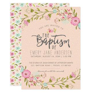 LDS BAPTISM INVITATION | Elegant Pink Floral Girl