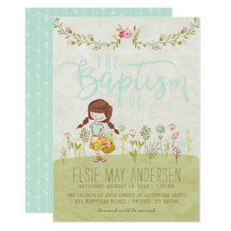LDS BAPTISM INVITATION | Pretty Cute Floral Girl