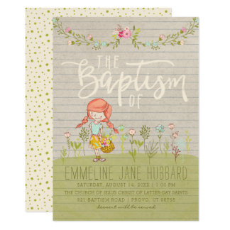 LDS BAPTISM INVITATION | Spring Flowers Happy Girl