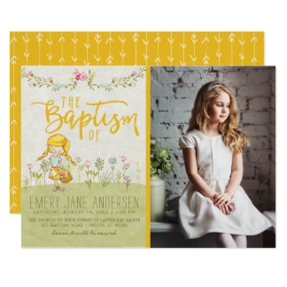 LDS BAPTISM PHOTO INVITATION | Cute Floral Girl