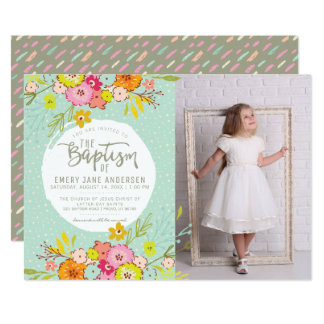 LDS BAPTISM PHOTO INVITATION | Modern Bright Girl