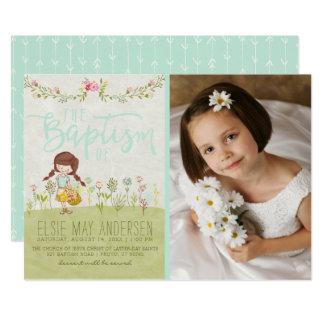 LDS BAPTISM PHOTO INVITATION | Pretty Floral Girl