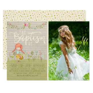 LDS BAPTISM PHOTO INVITATION | Spring Flowers Girl