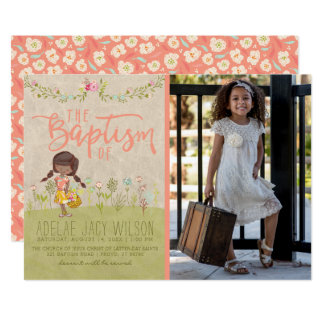 LDS BAPTISM PHOTO INVITATION | Vintage Floral Girl