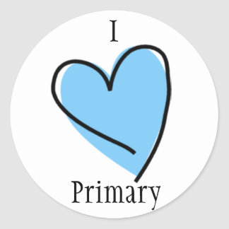 LDS Primary Stickers - I Heart Primary blue
