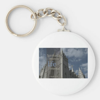 "LDS Quotes ""Spiritually Minded is Life Eternal"" Keychain"