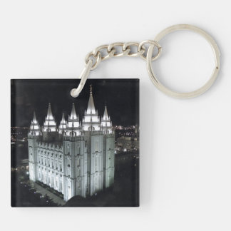 LDS Salt Lake City Temple at Night Double-Sided Square Acrylic Keychain
