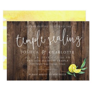 LDS TEMPLE SEALING CARD INSERT | Rustic Wood Lemon