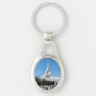 LDS Temples Silver-Colored Oval Keychain
