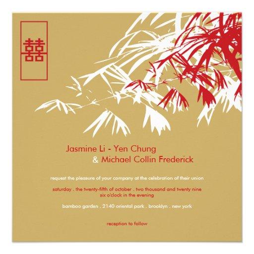 Le bambou oriental part du double mariage de bonhe invitations