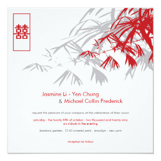 Le bambou oriental part du double mariage de carton d'invitation  13,33 cm