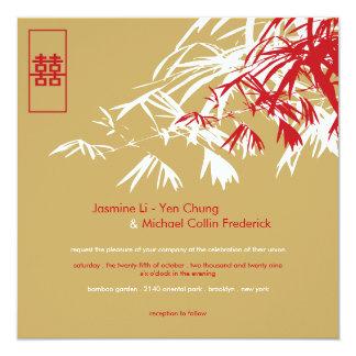 Le bambou oriental part du double mariage de invitations